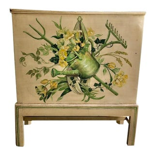 Antique Metal Hand Painted Side Table or Storage Container For Sale