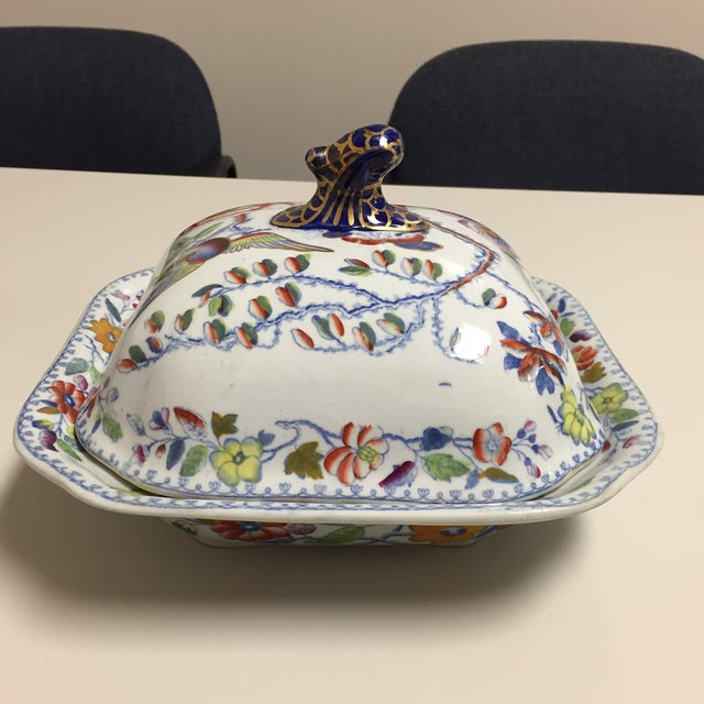 Blue and Red Floral Masons Square Covered Server For Sale - Image 9 of 9