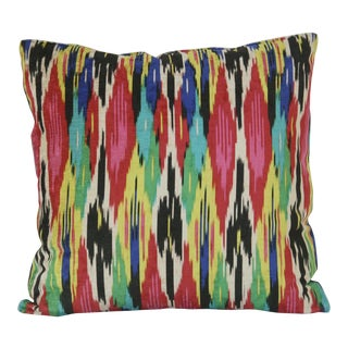 Multicolored Vibrant Cotton Velvet Pillow For Sale