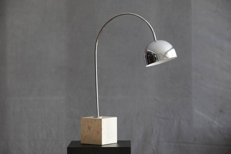 Harvey Guzzini Chrome Arc Table Lamp On Square Travertine Base   Image 4 Of  8