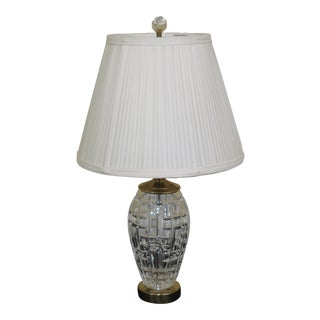 1990s Traditional Waterford Small Brass & Crystal Table Lamp For Sale
