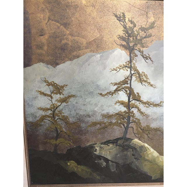 Black Original Gold Leaf on Masonite Painting by Les Parisch - Grand Tetons For Sale - Image 8 of 12