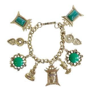 Vintage 1950's Pagoda / Chinoiserie Style Charm Bracelet
