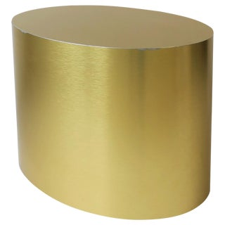 Gold Oval Side or Cocktail Table For Sale