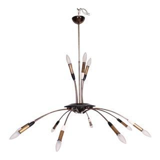 Mid-Century Modern Italian Chandelier 12 Bulbs