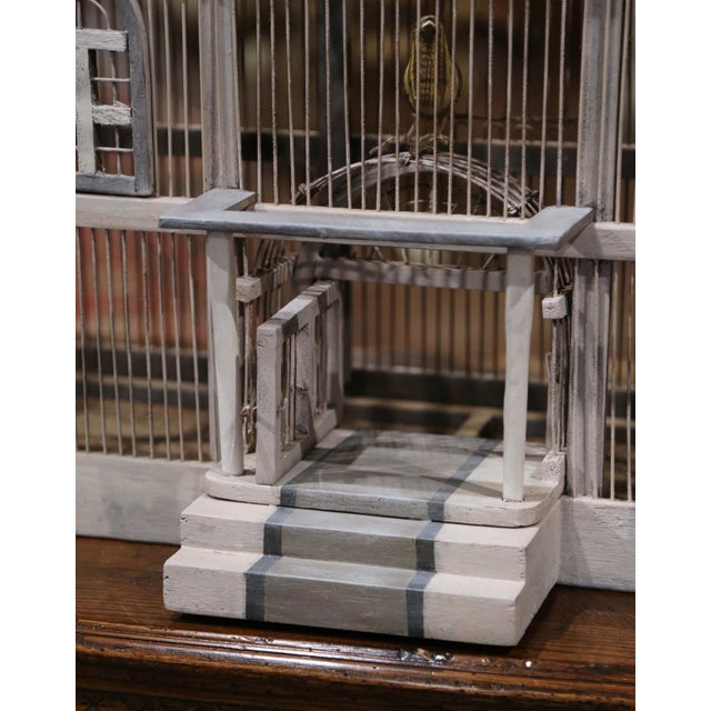 Early 20th Century French Carved and Painted Wooden and Wire Birdcage For Sale In Dallas - Image 6 of 10