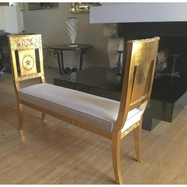 Gold French Empire Very Long Gold Leaf Carved Wood Bench For Sale - Image 8 of 8