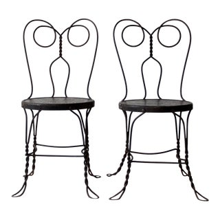 Vintage Black Ice Cream Parlor Chairs - a Pair