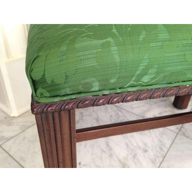 1960s Mahogany English Chippendale Style Stool Upholstered in Green Brocade For Sale - Image 5 of 6