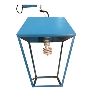 2000s Art Deco Blue Lantern Light