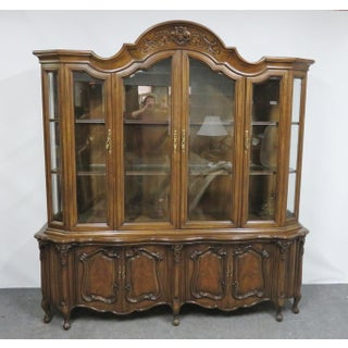 French Carved Walnut Breakfront China Cabinet Preview