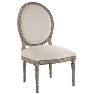 Swedish Oval Back Dining Side Armless Chair For Sale