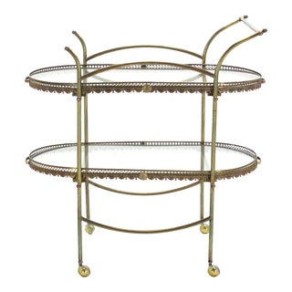 Two-Tier Brass Serving Cart Table with Removable Trays For Sale