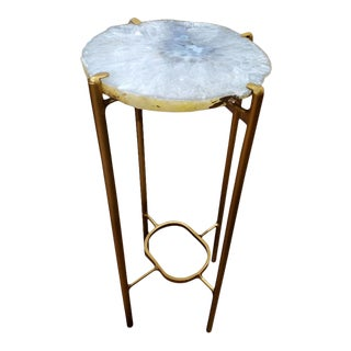 Organic Modern White Blue Gray Quartzite Geode Drink Table With Gold Gilt Base For Sale