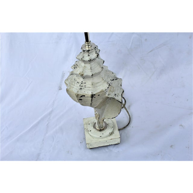Original White Metal Conch Shell Lamp For Sale In Los Angeles - Image 6 of 8