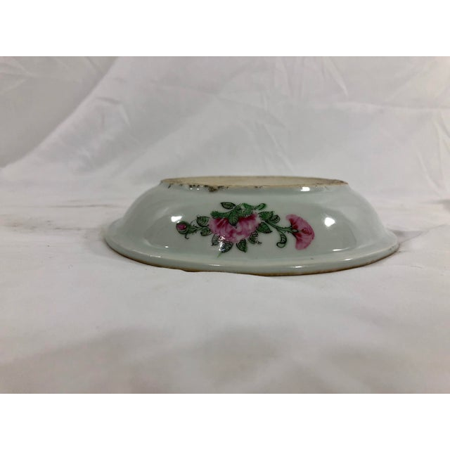Mid 19th Century Antique Rose Medialion Oval Plates on Stands - a Pair For Sale - Image 5 of 11