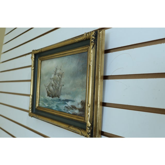 1960s Vintage Ship 'Stormy Seas' Oil Painting on Board in Gold Frame For Sale - Image 5 of 7