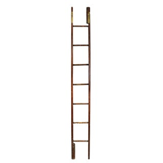 Edwardian Stained Pine Folding Library Stick Ladder For Sale