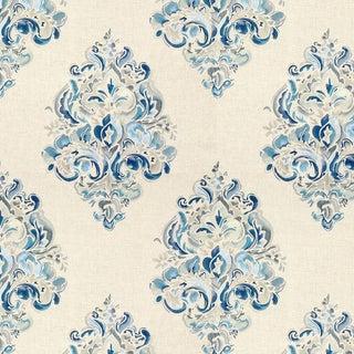 Modern Lee Jofa, Gwf-3309.515, Ground Works, Holi Emb: Blues on White Damask Fabric For Sale