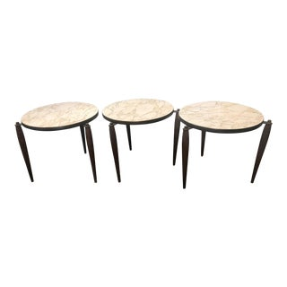 1960's Vintage Round Stacking Tables- Set of 3 For Sale