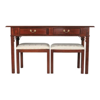 Knob Creek Console or Sofa Table With Benches - Set of 3