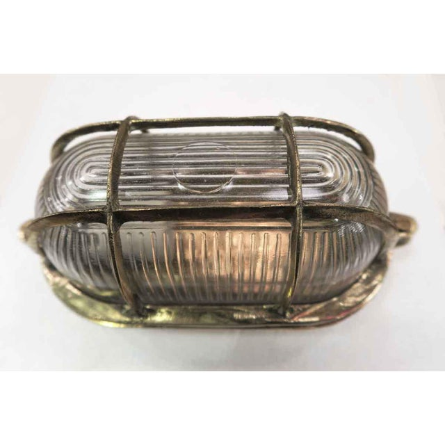 Nautical Mid-Century Nautical Oval Caged Flush Mount Ship Light For Sale - Image 3 of 6