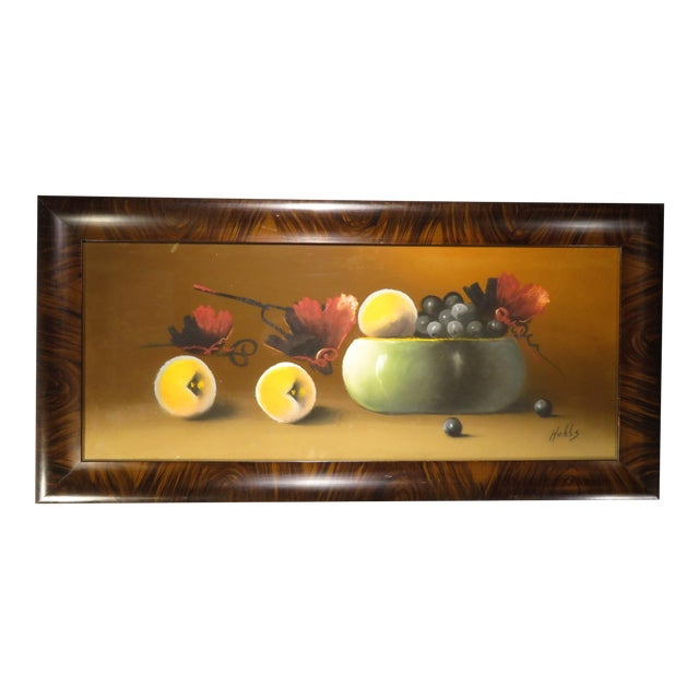 Antique 19th Century Signed Still Life Fruit Bowl Pastel Painting For Sale