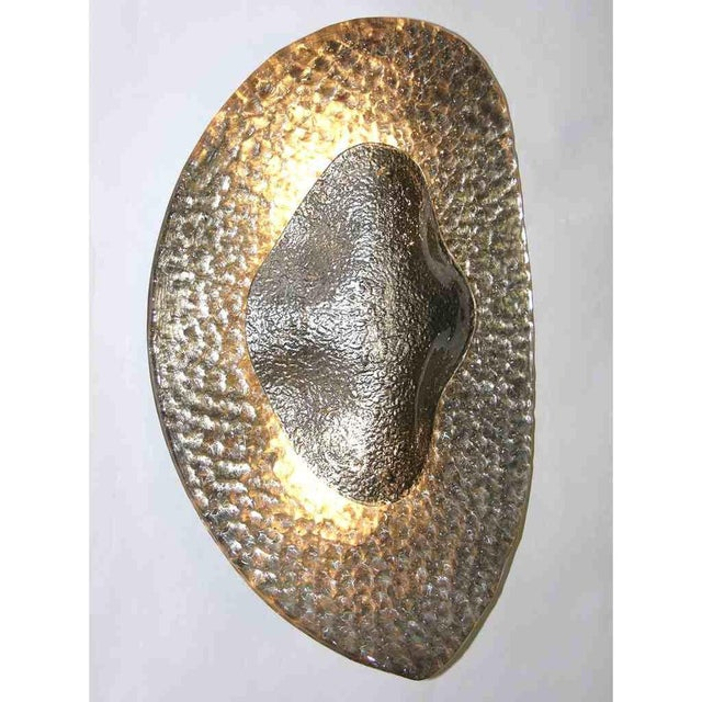 Contemporary 1990s Modern Italian Silver Finish Textured Murano Glass Concave Sconces - a Pair For Sale - Image 3 of 8