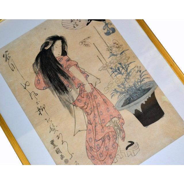 Asian Utagawa Toyokuni II Geisha Japanese Gilt Framed Woodblock Print on Parchment Paper For Sale - Image 3 of 13