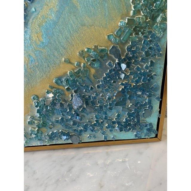 Abstract Framed Oil Painting With Resin and Rock Crystal on Canvas by Franchy For Sale - Image 10 of 13