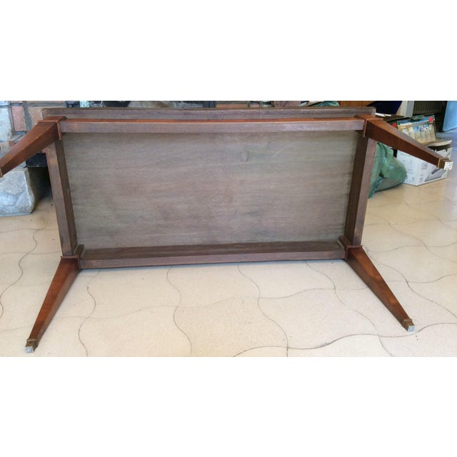 French Walnut Coffee Table With Marble Top For Sale - Image 9 of 11