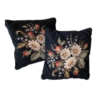 1980s Floral Needlepoint Pillows - A Pair For Sale