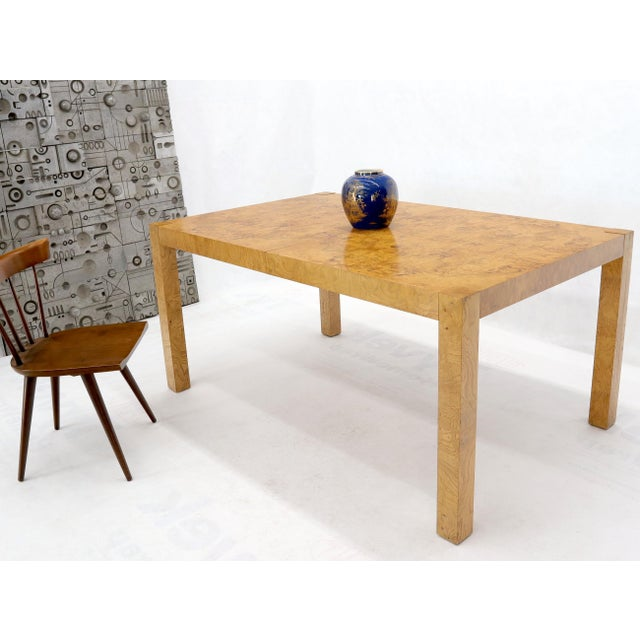 Milo Baughman Rectangle Shape Burl Wood Dining Room Table with Two Extension Leaves Boards For Sale - Image 4 of 12