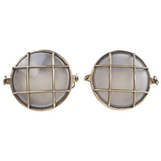 Nautical Brass and Frosted Glass Ship's Passageway Lights - a Pair For Sale