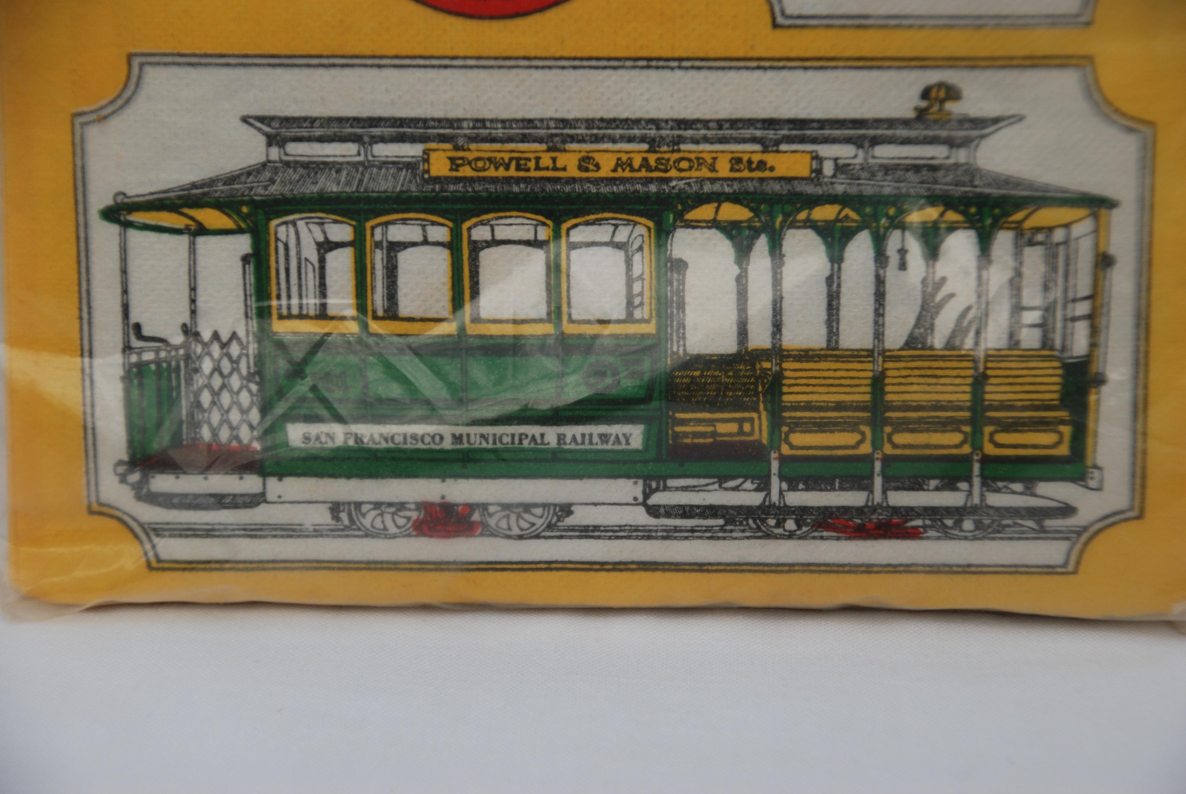 Vintage San Francisco Cable Car Paper Napkins   Set Of 24   Image 2 Of 6