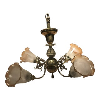 1950s Brass & Etched Glass Sconce Chandelier For Sale