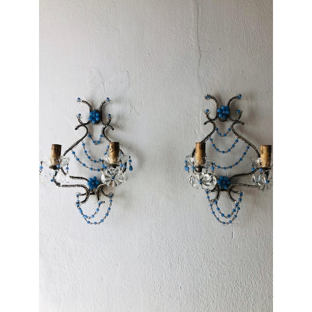 French Lavender Opaline Beads Beaded Sconces, circa 1920 For Sale - Image 10 of 10