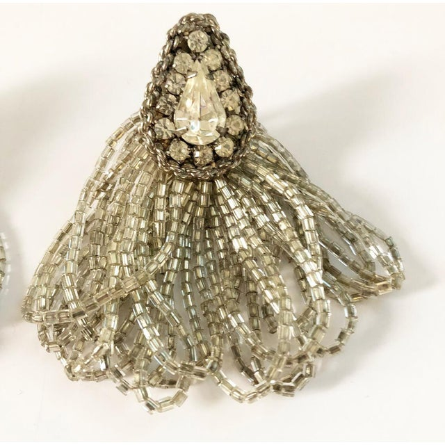 Hollywood Regency 1970s Vintage Silver Beaded Rhinestone Clip on Earrings For Sale - Image 3 of 9