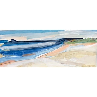 """""""Seascape I"""" Contemporary Abstract Coastal Landscape Watercolor Painting - 16 X6 For Sale"""
