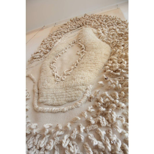 """This is very large and wonderful wool fiber art piece accredited to the Robert Kidd studio, circa 1975. At 4'-10"""" by 8'-6""""..."""