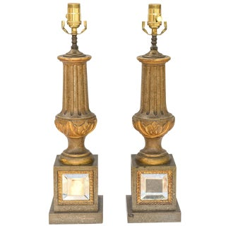 Pair of Mid-Century Italian Baluster Form Lamps on Mirrored Base For Sale