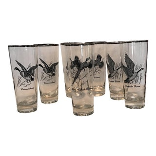 Vintage Game Bird Tall Cocktail Glasses - Set of 7 For Sale