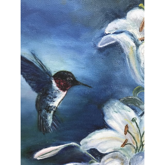 Vintage Hummingbird and Flowers Oil Painting, Signed For Sale - Image 4 of 6