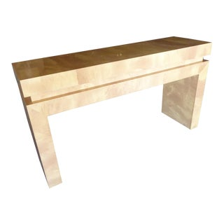 A Chic Art Deco Inspired Faux-Goatskin Console Table For Sale