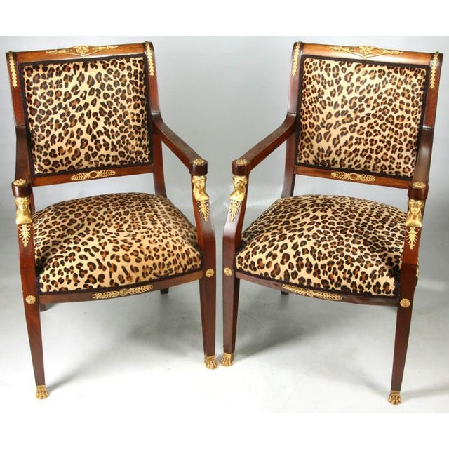 High End Empire Style Chairs With Leopard Fabric- a Pair For Sale - Image 9 of 9