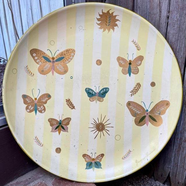 1950s Georges Briard Tole Butterflies + Flora Tray, Signed For Sale - Image 13 of 13
