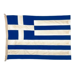 Tea-Stained Cotton Flag of Greece For Sale