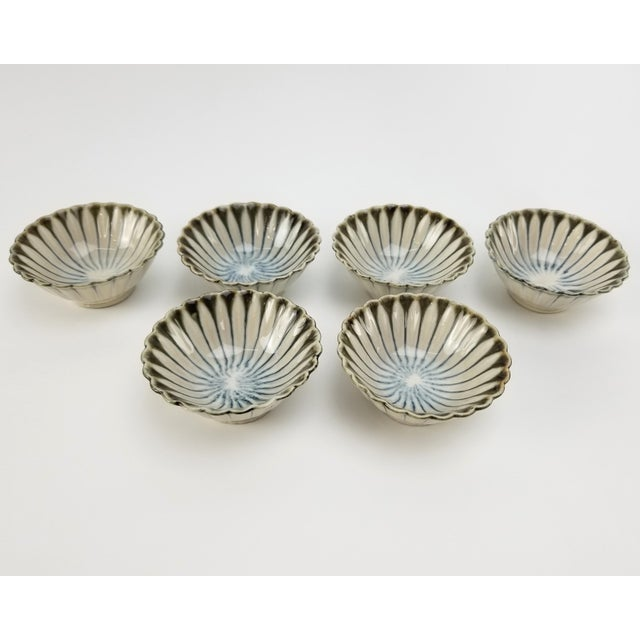 Contemporary Vintage Japanese Soy Sauce Bowls - Bone China Hand Made Drip Glaze Set of (6) Bowl For Sale - Image 3 of 10