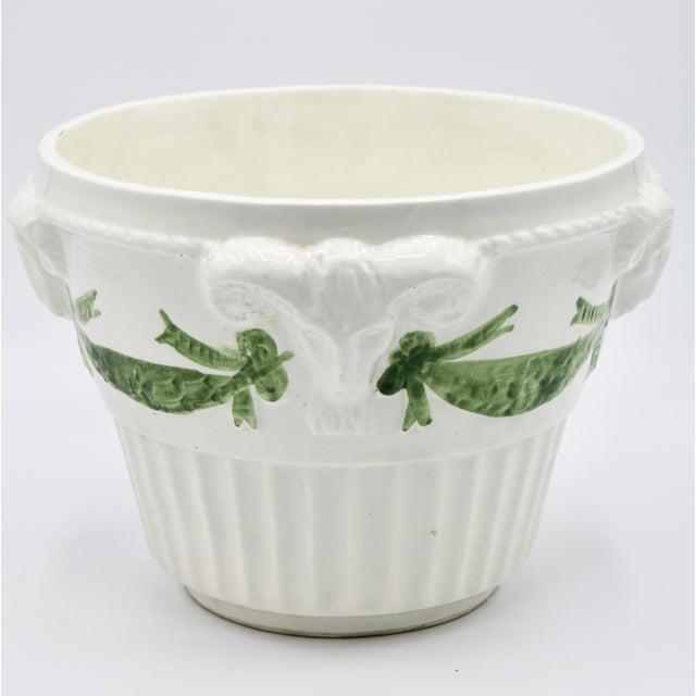 Ceramic Italian White Rams Head Ceramic Planter For Sale - Image 7 of 8
