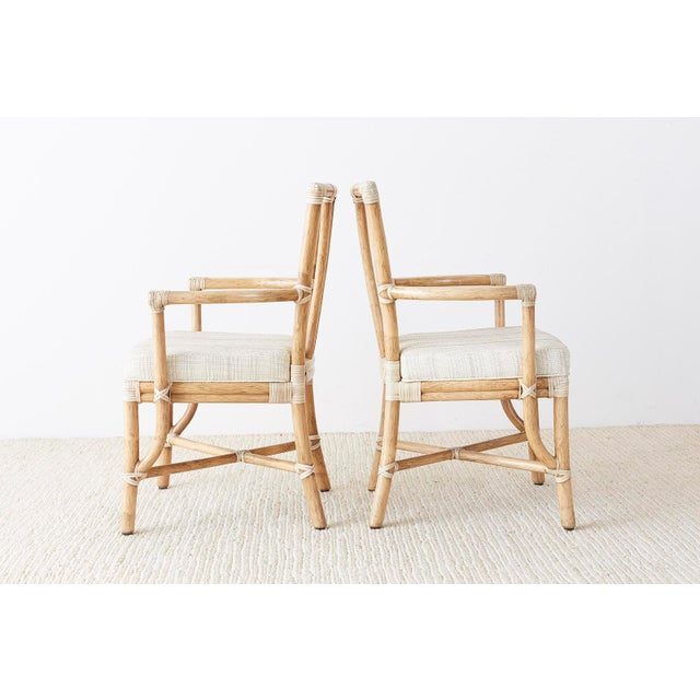 Pair of McGuire Organic Modern Bamboo Rattan Armchairs For Sale In San Francisco - Image 6 of 13